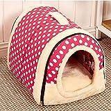 JUSH ドーム型 犬ハウス 折り畳み式 収納簡単 ふわふわ キャットハウス 厳冬対策 保温 2WAY 持ち運びタイプ (L 60*45cm, ピンクドット)