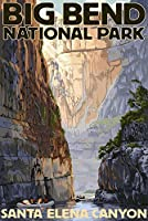 Big Bend国立公園、テキサス–Santa Elena Canyon 24 x 36 Signed Art Print LANT-34167-710