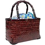 (キョウエツ) KYOETSU かわいい竹かご巾着バッグ 浴衣 和柄 レトロ kg-04 (かご-焦茶×ブルー系)