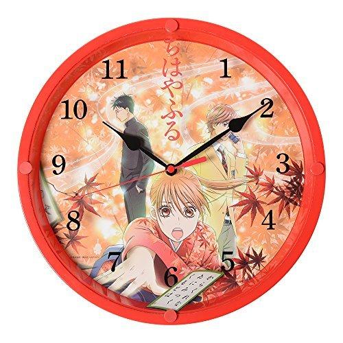 ちはやふる時計 百人一首をイメージした和柄の掛時計 赤色 C...