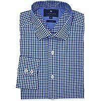 Wayver Blue Poplin Windowpane Check Business Shirt