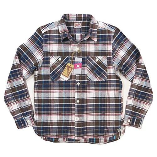 (ヒューストン)HOUSTON マチ付 長袖 チェック ヘビーネルシャツ 40120 L WHITE×BLUE×BROWN(ホワイト×ブルー×ブラウン系)