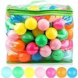 iKing カラーボール ボールプール用ボール 海洋ボールのおもちゃ 直径7cm ポリエチレン製 PE より厚み 弾力あり 柔らかい 7色 収納ケース付き 50個