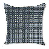 タイルinブルーandゴールド黄麻布枕 24x24 bd24-pd4341