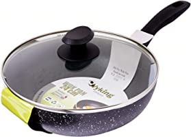 Wyking Induction Non Stick Wok Pan with Glass Lid, 24 cm Diameter