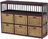木製フレーム棚付き籐(ラタン)チェスト/ランドリー 104巾3列2段6杯