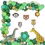 Jungle Party Decorations 124 Pcs Balloons Garland Kit Safari Tropical Animal Theme Decor Foil Balloon for Kid's Birthday Baby