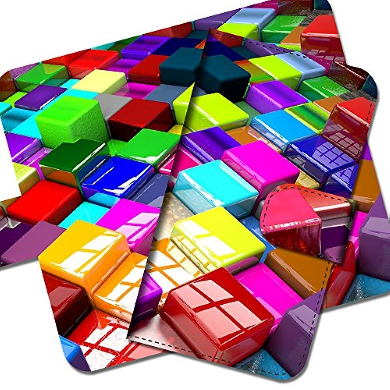 精算導入するラップZenFone3 Max 5.2インチ ZC520TL プリント CUBE キューブ 「COLORFUL」 カラフル 虹 タイル 手帳型 スマホケース スマホカバー