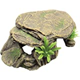 Hemobllo Aquarium Fish Tank Stone Decoration Resin Moss Rock Cave Ornament Fish Hideaway for Betta Small Lizards Turtles Rept