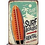 Swono Surf Boards Tin Signs,Surf Wear Rental Welcome Vintage Metal Tin Sign for Men Women,Wall Decor for Bars,Restaurants,Caf