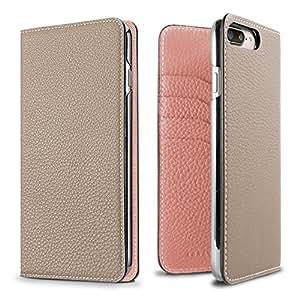 BONAVENTURA ボナベンチュラ iPhone 8/7 Plus ケーストゴ レザー Diary Case [iPhone 8/7 Plus, グレージュ×コーラル]