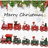 Gotd Christmas Train Toys 5pcs/set Wood Christmas Xmas Train Decoration Decor Gift Children Stitching Toys 25x5x2.5cm, Army Green