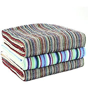 TANGONO バスタオル 3枚組 色柄おまかせ 約60×120cm 残糸で作ったエコなタオルセット 速乾 吸水