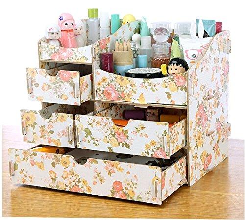 (ミウォルナ) Miwoluna 化粧品 コスメ ジュエリー 収納 ボックス スタンド メイクボックス 木製 組み立て式 (鏡なし 海常花)