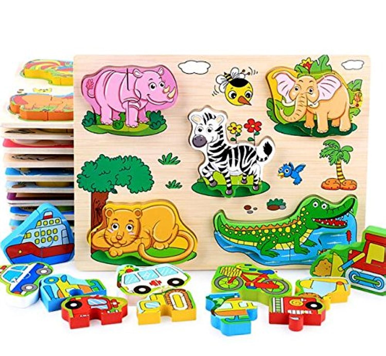 HuaQingPiJu-JP 子供のためのカラフルな木製の就学前の動物の認知のボード教育パズル