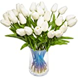 JOEJISN Artificial Flower Real Touch Tulips Holland PU Tulip Bouquet Latex Plants for Party Office Home Garden Wedding Decora