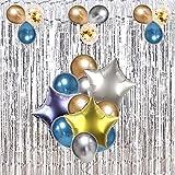 メタリックバルーン アソート風船 銀色 金色 ブルー ゴールド紙吹雪 スターアルミバルーン 誕生日 結婚式 ベビーシャワー キラキラ タッセルカーテン