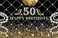 Qinunipoto 3m x 2.1m ビニール 背景布 写真撮影用写真のための幸せな50歳の誕生日の背景キラキラ輝く真珠輝くダイヤモンドの背景妻50歳の誕生日パーティーバナーの装飾肖像画写真スタジオの背景小道具