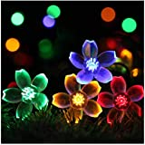 Semintech Solar Powered String Lights Outdoor Waterproof 50LED Peach Blossom Xmas Decorations for Garden Patio Multi color