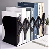 Bookends Adjustable Metal Iron Bookends Heavy Duty Nonskid Bookend Magazine File Holder Bookshelf Decor Desktop Organizer for