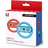 GH Switch Steering Wheel for Mario Kart 8 Deluxe, Switch Racing Wheel for Nintendo Joy Con Controller - Neon Blue and Red