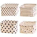 TCHH-DayUp 4 Pcs Mini Foldable Storage Bin Basket,Foldable Container Organizer Fabric Storage Receive Baskets with Handle Cot