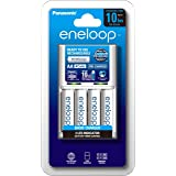Panasonic AA & AAA Eneloop Overnight Basic Battery Charger with 4-Pack AA Ready-to-Use Ni-MH Rechargeable Batteries (K-KJ51MC