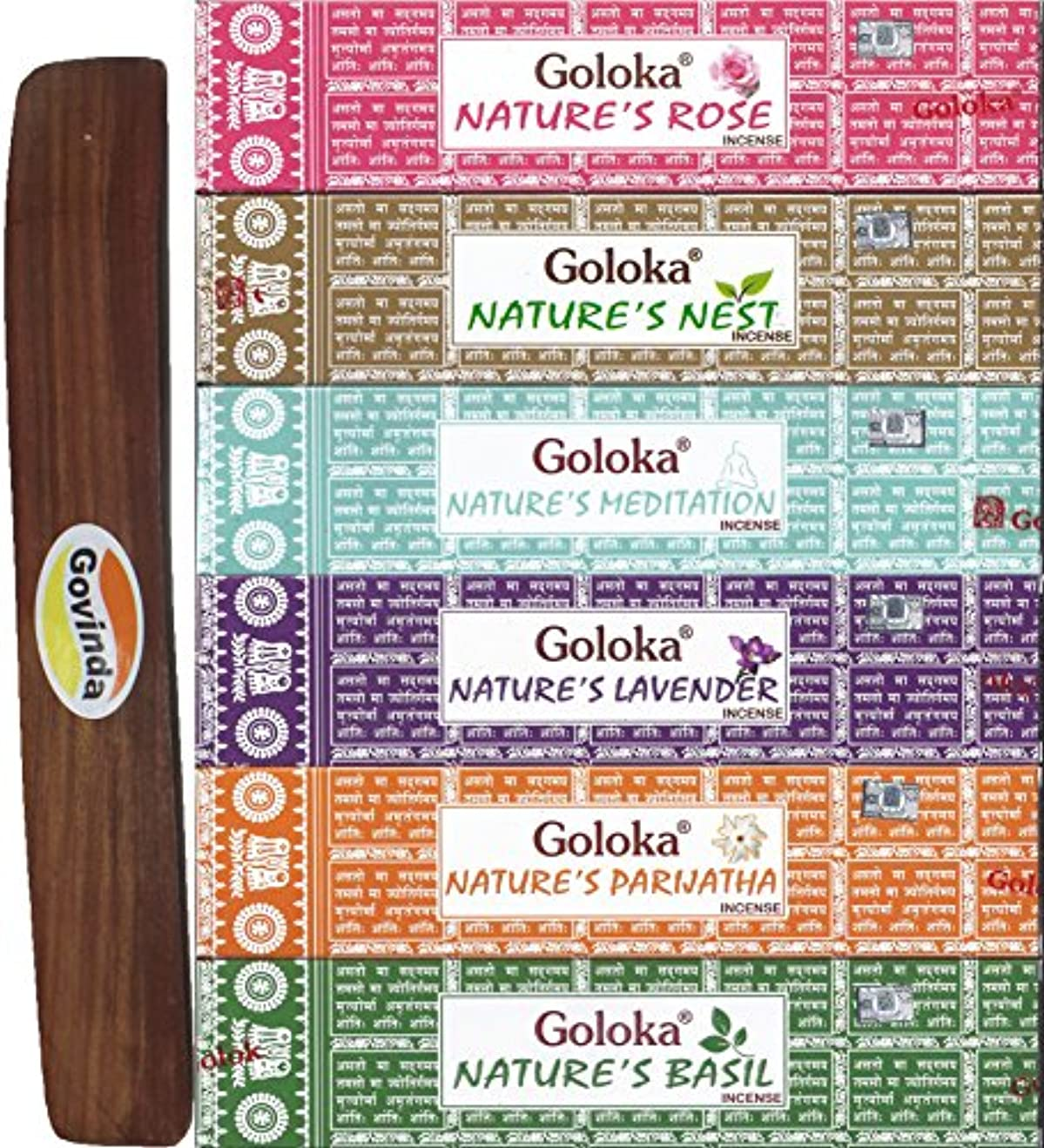 鳥窒素バンドSet of 6 – 自然の瞑想、ネスト、ローズ、バジル、Parijatha、、ラベンダーwith Govinda Incense Holder – By Goloka Nature 'sシリーズとGovinda Burner