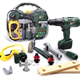 HomeMall Kids Tool Set, Toy Tool Set with Power Toy Drill Contains Tool Box and Toy Wrench, Hammer, Goggles and More Play Too