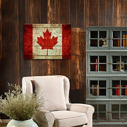 Yanqiao 30*40cm 油絵 カナダの国旗 玄関や客間に掛け物  おしゃれでかわいい 壁飾り 木縁額付き
