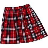 XFKLJ Plaid Short Skirt Pleated Cotton Skirt Women Casual Mini Skirt School Pleated Skirt