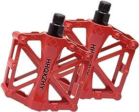 besuntek 9/16インチ 自転車 ペダル アルミペダル アルミ合金 サイクリングバイクペダル ロードバイク マウンテンバイク対応 クロスバイク 赤 2個セット