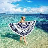 "Letigo 59"" Cotton Thick Round Large Beach Towel, Pool Towel,Beach Throw, Indian Mandala Microfiber,Beach Blanket With Tassels"