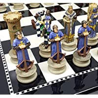Medieval Times Crusades Knights Chess Set Hand Painted W/ High Gloss Black & White Board