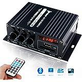 パワーアンプ小型 2チャンネル 高音質 家庭用 Bluetooth5.0 アンプ 高低音 小型ステレオアンプ ブラック(12V5Aアダプター付属)