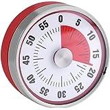 ダイヤルタイマー 料理用タイマー 60分計 電池不要 マグネット付き アナログタイマー クッキング キッチン ベーキング アラーム (レッド)