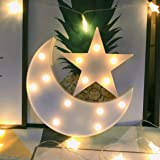 Decorative Moon-Star Night Light,Cute LED Nursery Night Lamp Gift-Marquee Moon-Star Sign for Birthday Party,Baby Shower,Kids