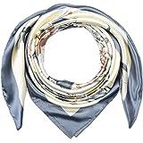 Large Square Silk Like Lightweight Scarfs Hair Sleeping Wraps for Women Gray Flowers Pattern by Corciova