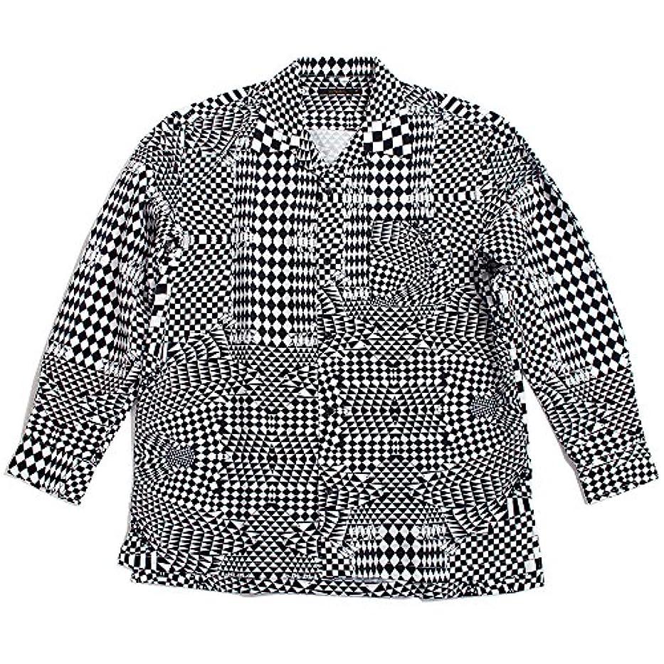 洗練浸したQUINTETTO(クインテット) 幾何学柄 クレイジー オープンシャツ 開襟シャツ 幾何学模様 長袖シャツ メンズ カジュアル アメカジ 01-78206 (L, 01,ブラック(BLACK))