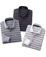 (ハンティントンクラブ) HuntingtonClub先染めマルチボーダーニットポロシャツ3色組