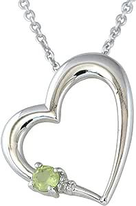 ジュエリーコトブキ 8月 誕生石 ペリドット ダイヤモンド ハート ネックレス ALWAYS(いつも一緒 刻印 )お花 ケース付 ギフトセット