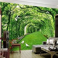 Lcymt カスタム写真壁紙用壁3 Dグリーンフォレストツリー芝生3Dステレオスペース背景壁紙家の装飾壁画-280X310Cm