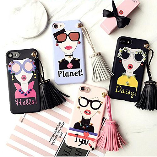 For iPhone 7 Plus Case,Maetek Fashion beauty girl Soft TPU Silicone Thin Fit Protective Case Full body phone Cover with hand hanging strap tassel for iPhone 7 Plus -I love you Maetek