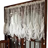 FADFAY Elegant White Lace Embroidered Sheer Ballon Curtains, Adjustable Tie-Up Curtain, 1 Panel Floral Tulle Curtains for Win