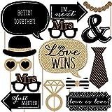 Mrs. & Mrs. - Gold - Lesbian Wedding LGBTQ Photo Booth Props Kit - 20 Count [並行輸入品]