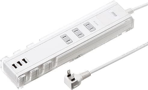 サンワサプライ USB充電&スタンド機能付き複合タップ2P 3個口 ホワイト TAP-B45W
