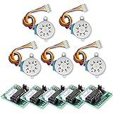 Aideepen 5個セット 28BYJ-48 5V ギヤードステッピングモーター + ULN2003ドライバーボード セット PI PICラズベリー ArduinoIDE用電作キット LK67駆動テストモジュールボード4相ステッピングモーター (2