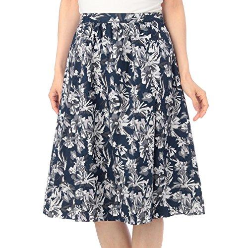 (オペーク ドット クリップ)OPAQUE.CLIP 花柄フレアスカート ブラック(119) 40(L)