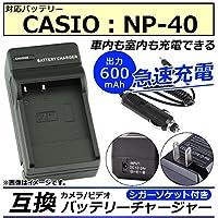 AP カメラ/ビデオ 互換 バッテリーチャージャー シガーソケット付き カシオ NP-40 急速充電 AP-UJ0046-CS40-SG