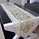 yazi-欧風 テーブルランナー カントリー調 刺しゅう 花柄 カットワーク テーブルセンター タッセル付き 40cmx200cm